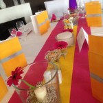 LoveWeddings- Dekoration pink und sonnengelb